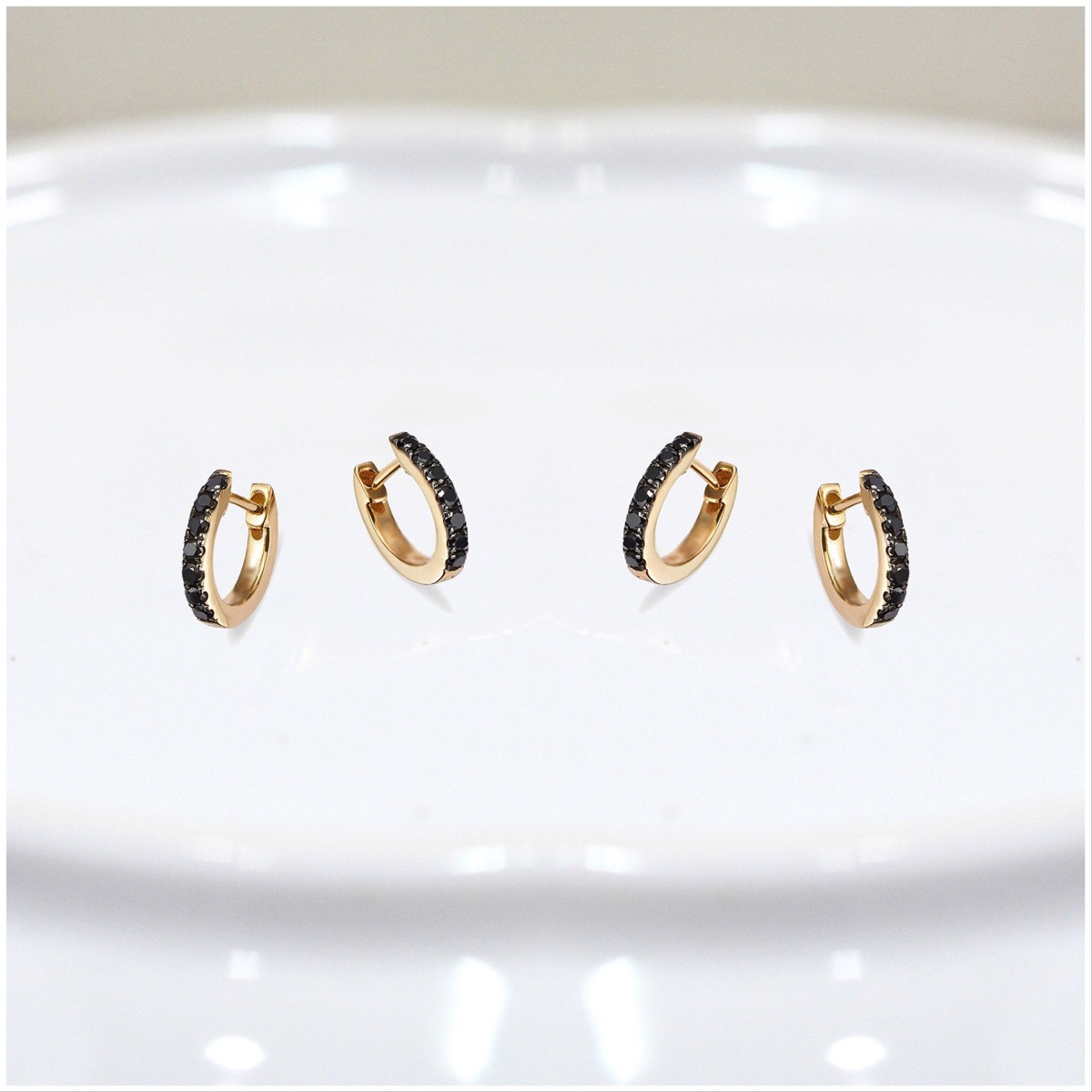 two pairs of gold hoops with black diamonds, Etsy jewelry