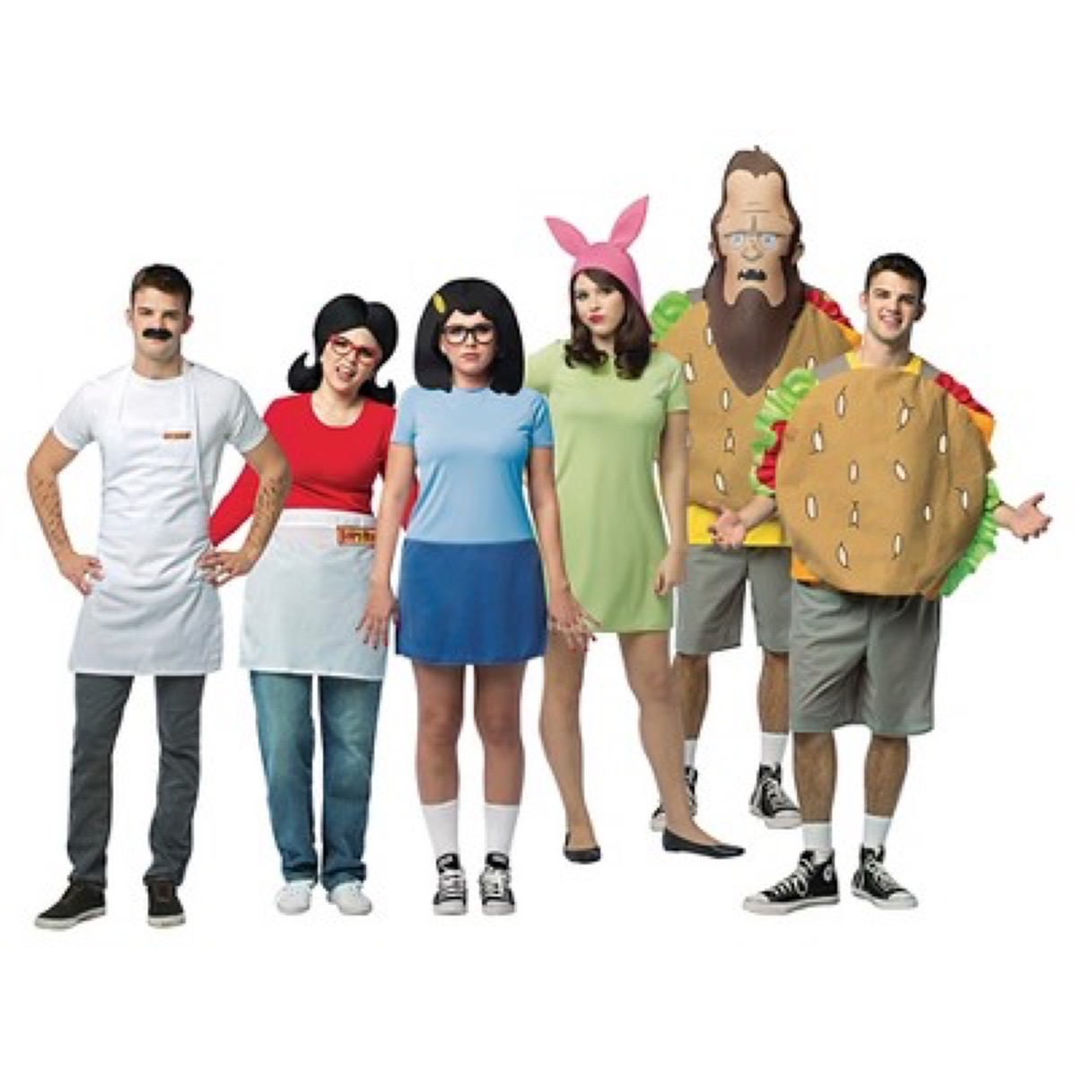 group dressed up as bob's burgers characters, family halloween costumes