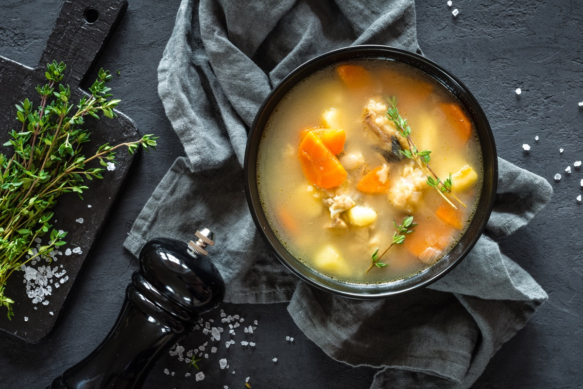 bowl of soup on plain background