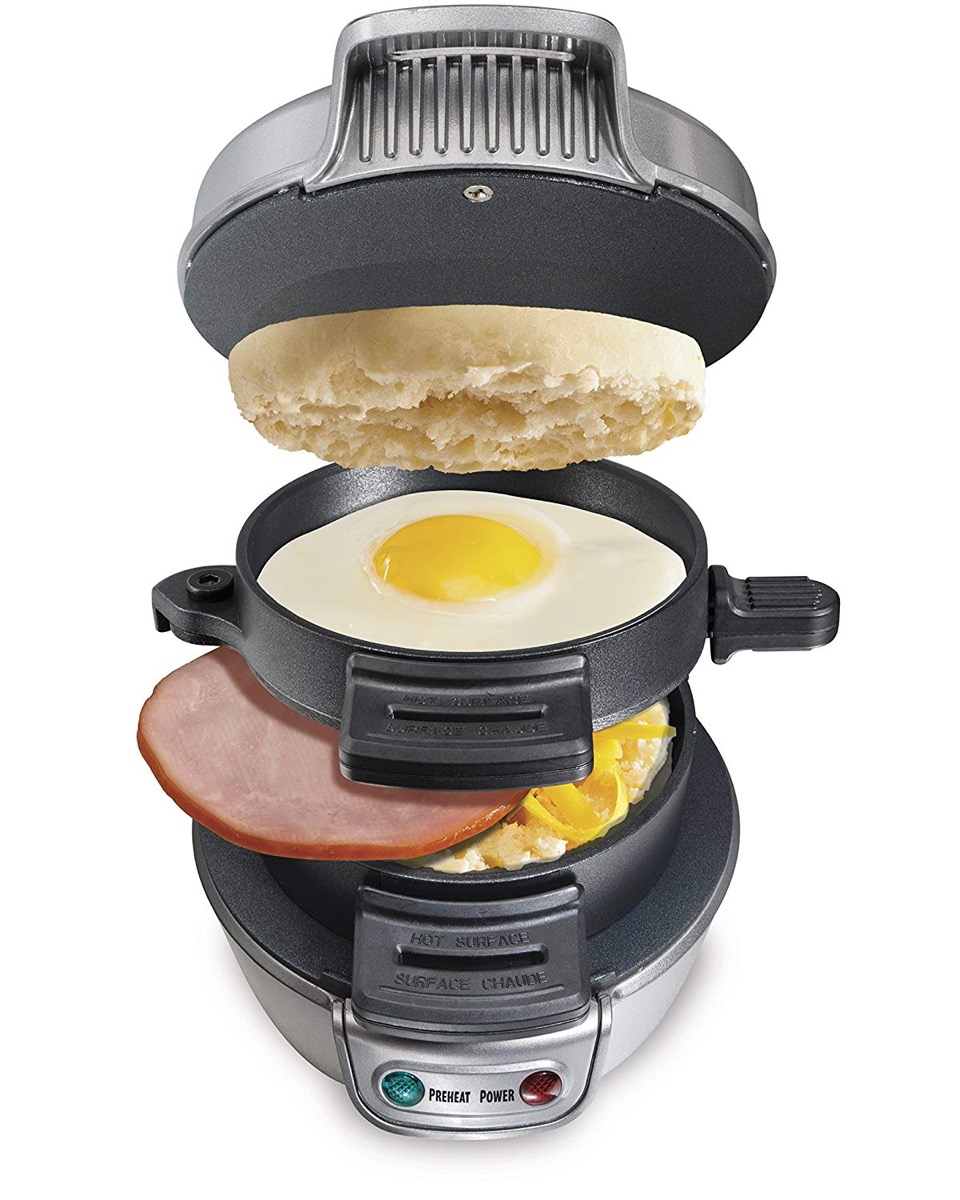 multi layer breakfast cooker with english muffing, egg, ham, and potatoes