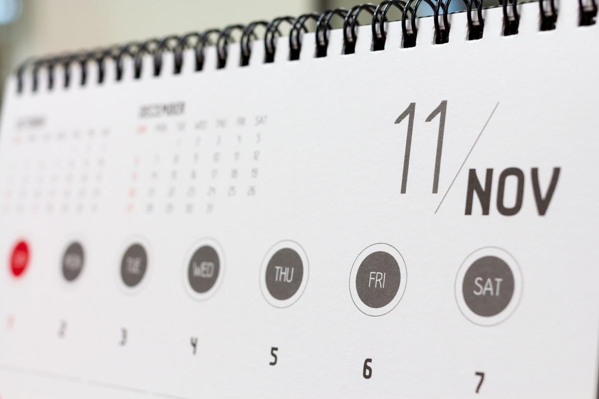 calendar showing november