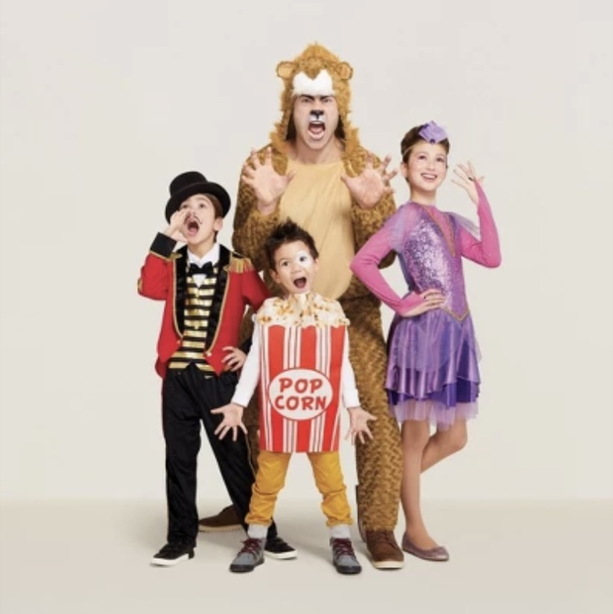 family dressed as circus performers, family halloween costumes