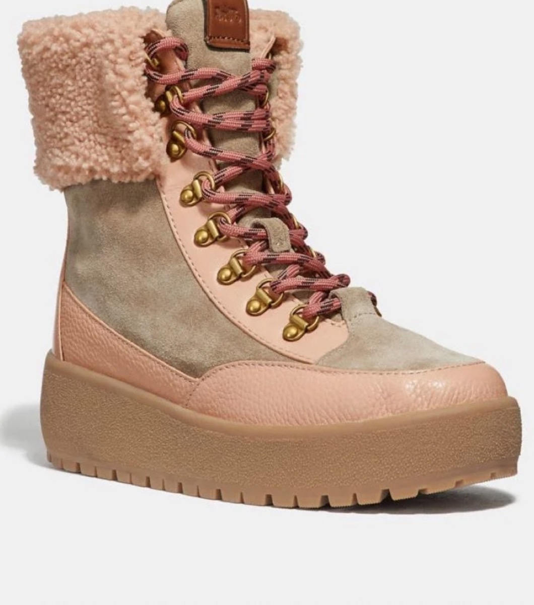 pink suede boots with shearling cuff