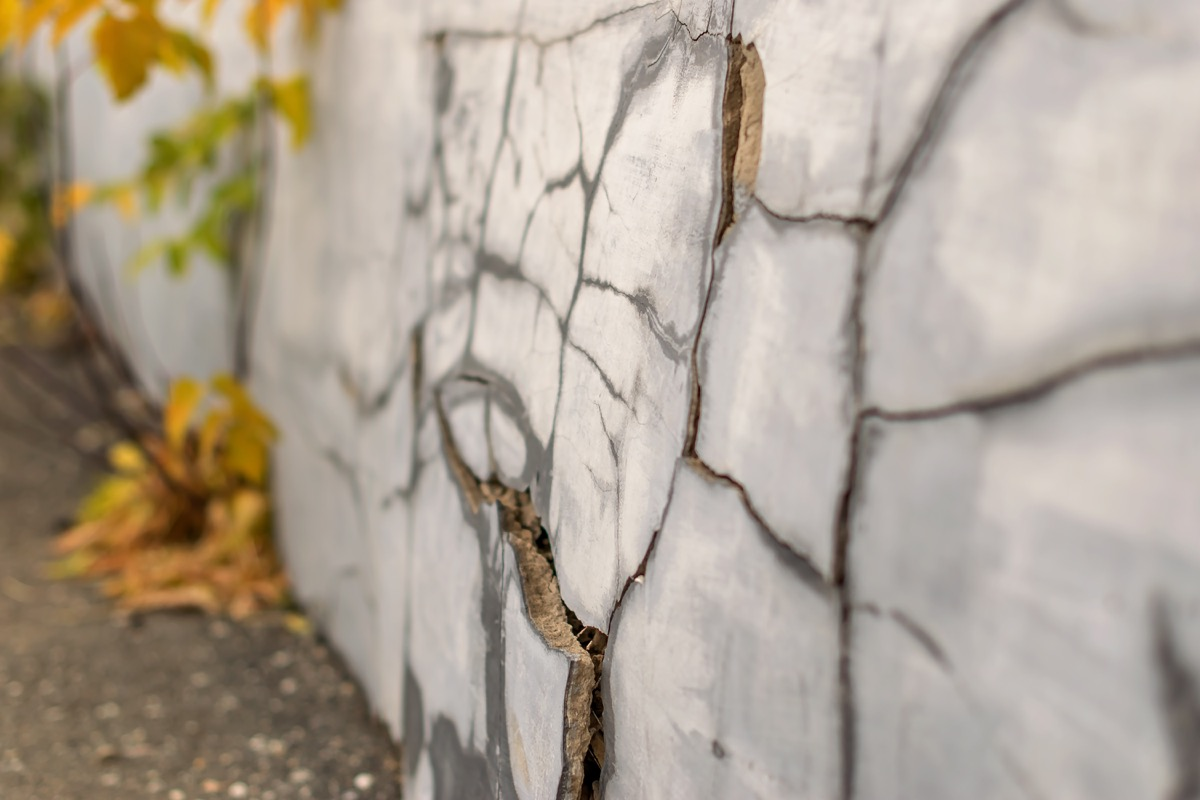 cracks in the home's foundation