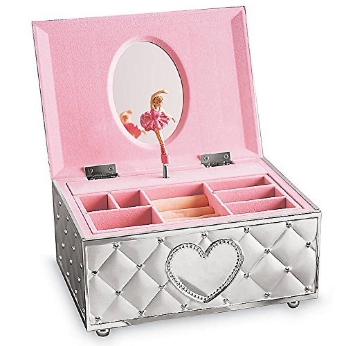 pink jewelry box with silver exterior and ballerina figurine inside