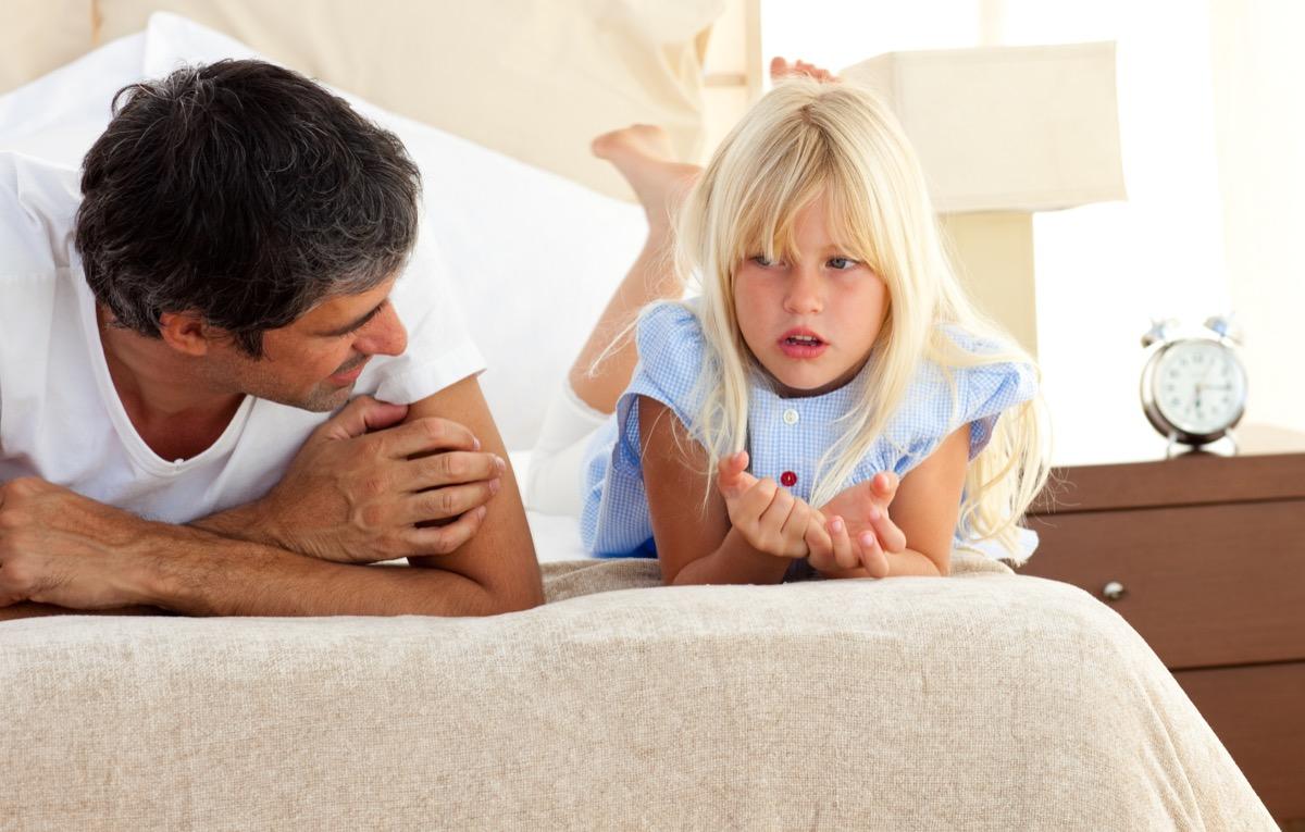 dad talking to upset child