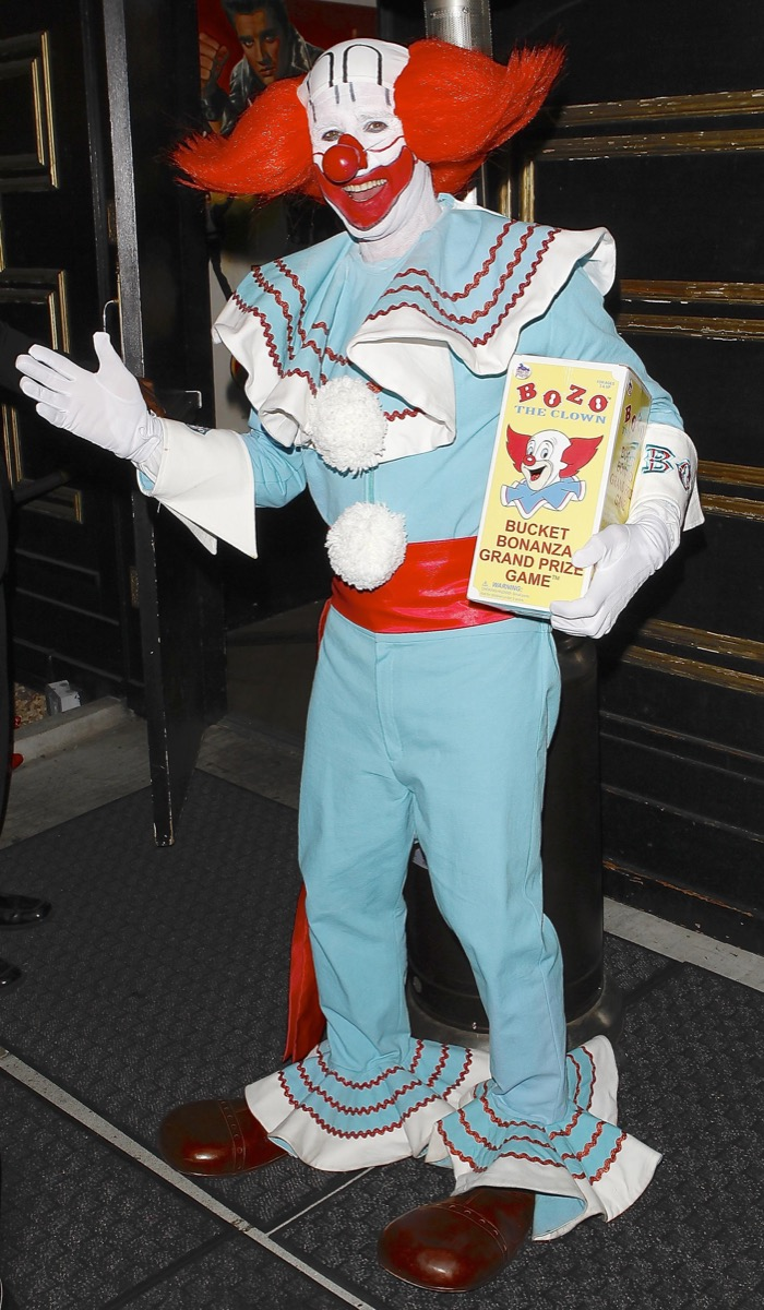 David Arquette dressed as Bozo the Clown for Halloween