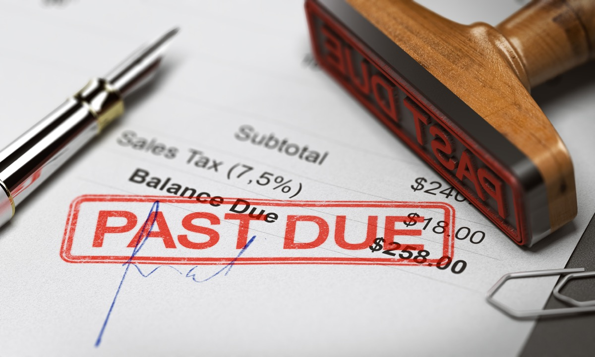 bill passed due and debt