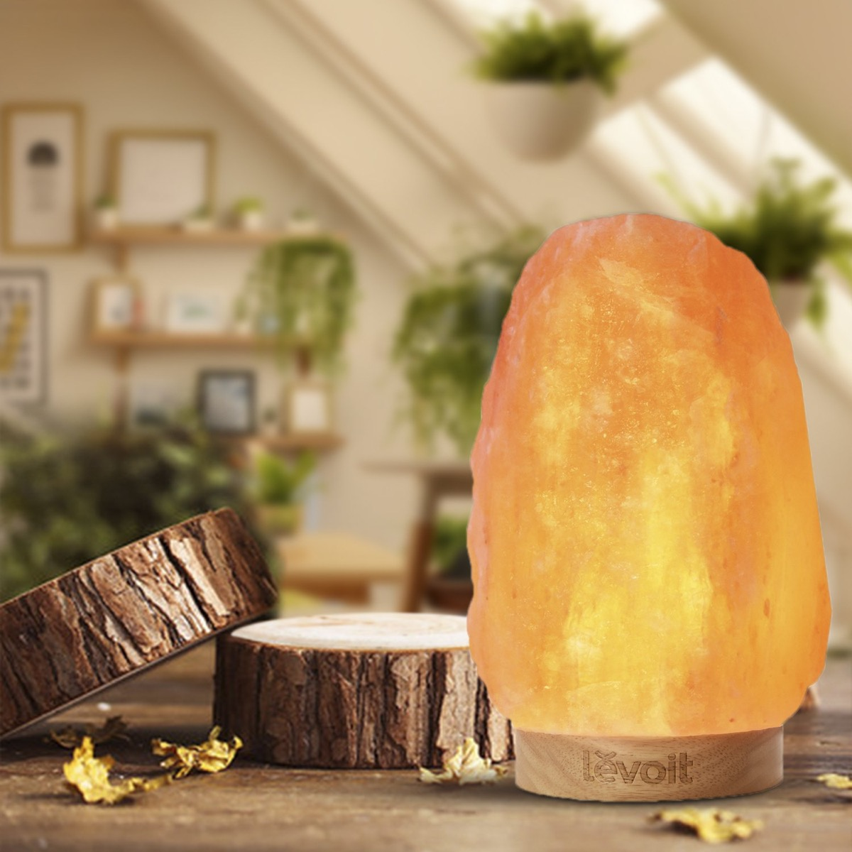 salt lamp on wooden table next to log slices