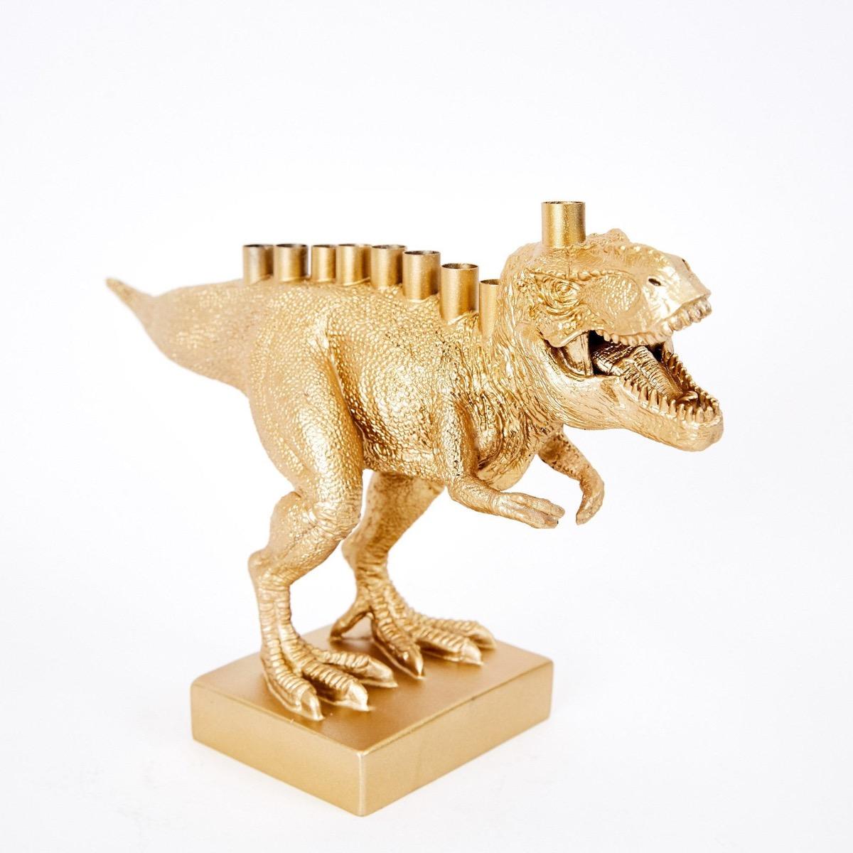 gold dinosaur menorah, hanukkah decorations