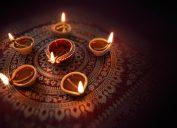 diya lamps lit for diwali