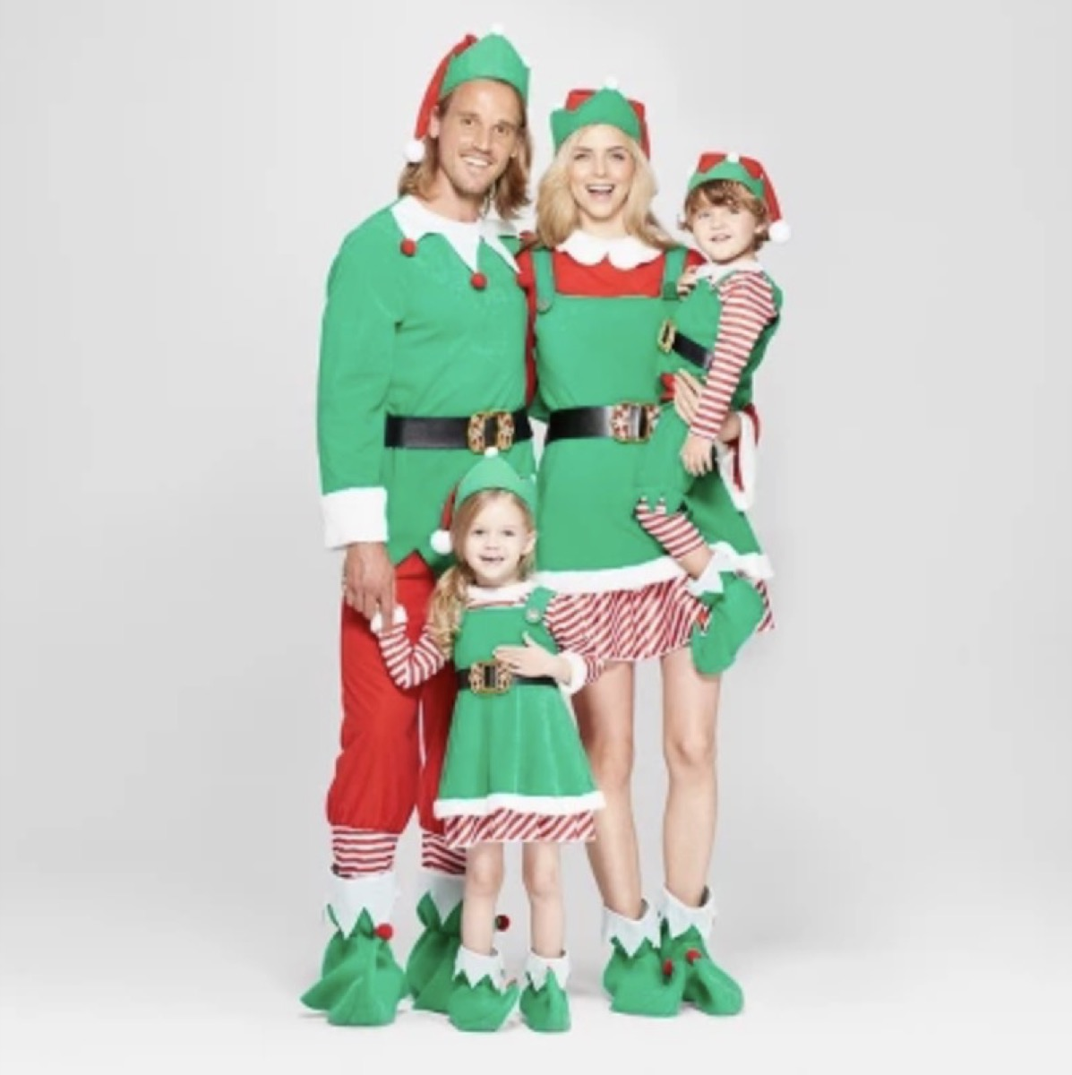 family in holiday elf costumes, family halloween costumes