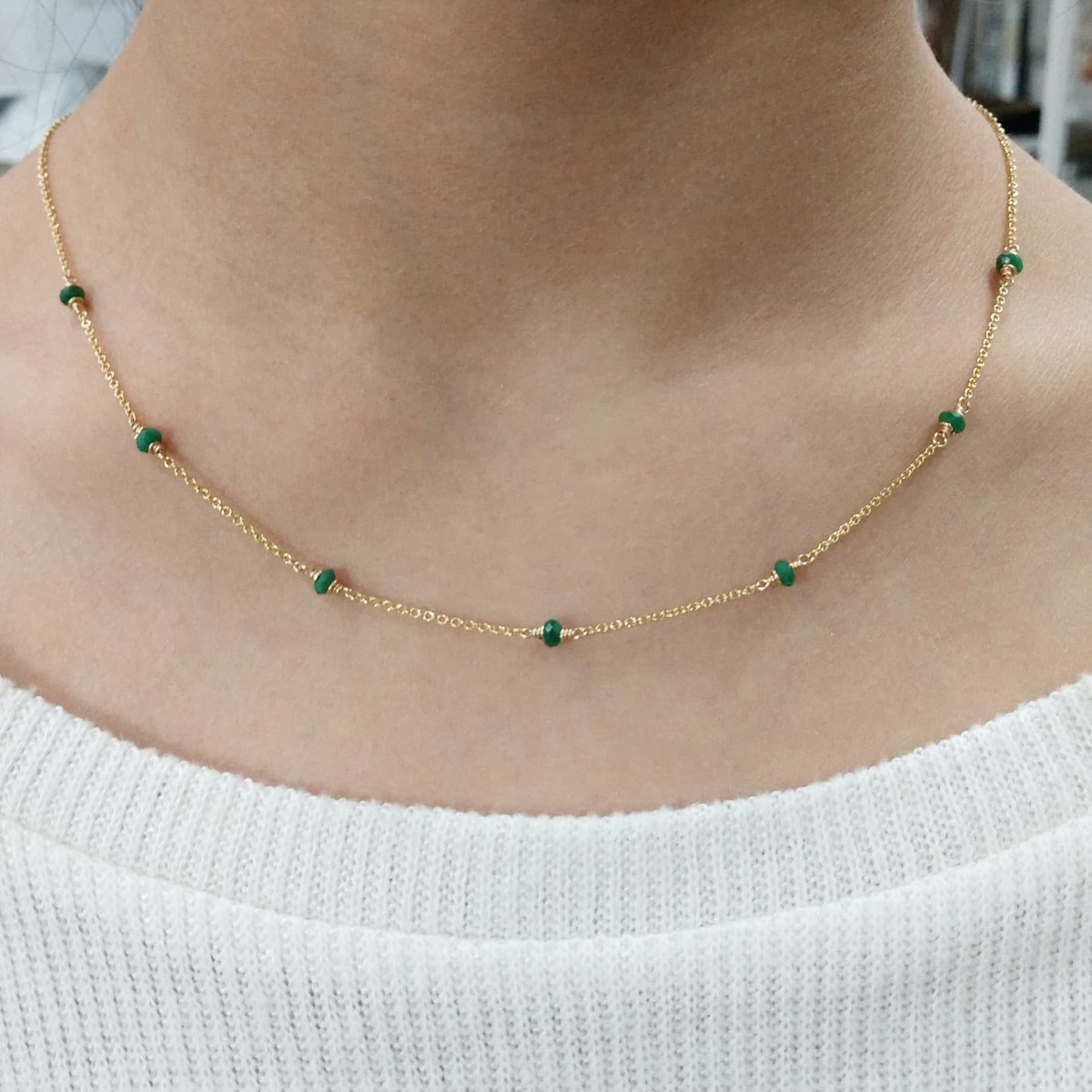 gold necklace with emeralds, Etsy jewelry