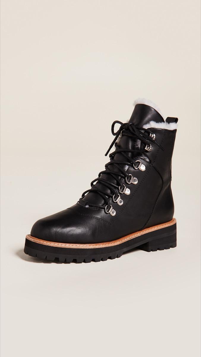 black faux fur lined combat boots