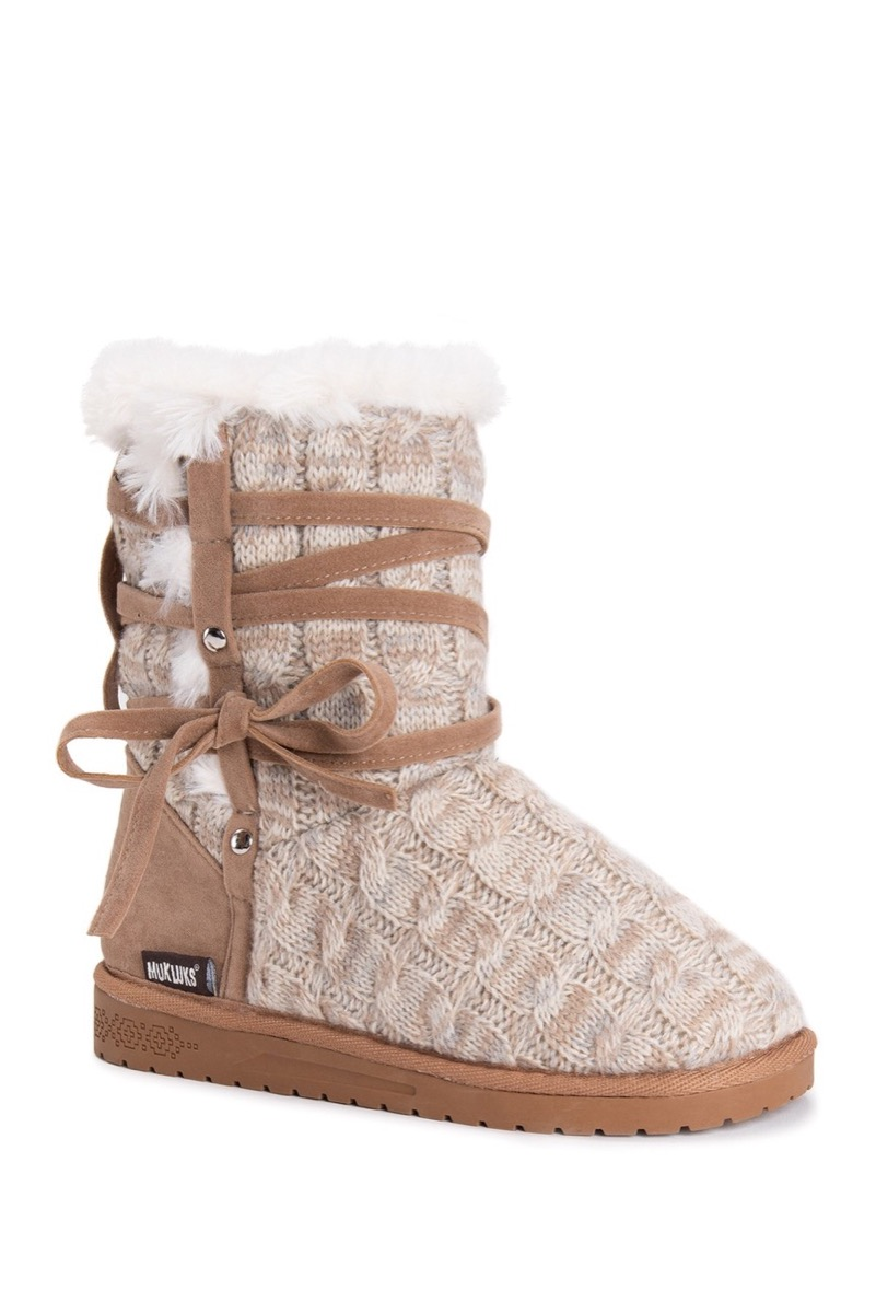 tan faux fur boots with knit exterior