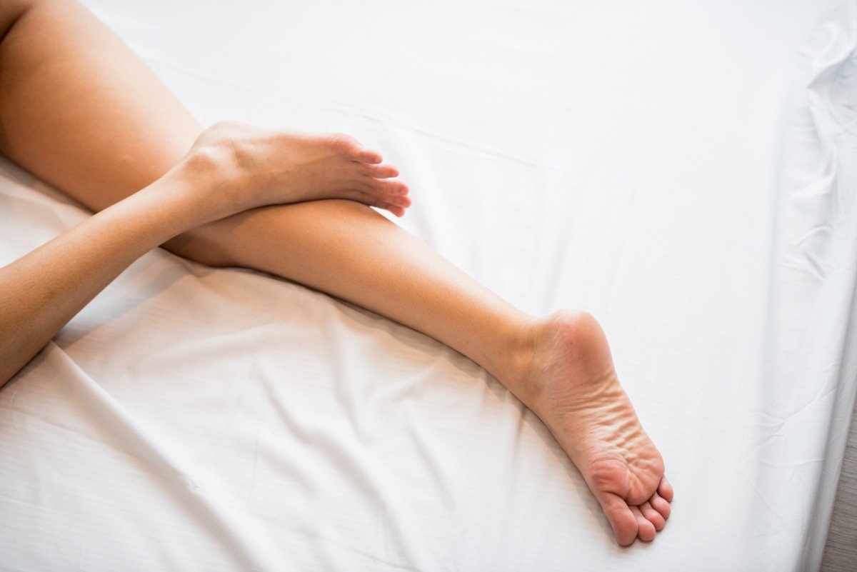 feet and legs in bed