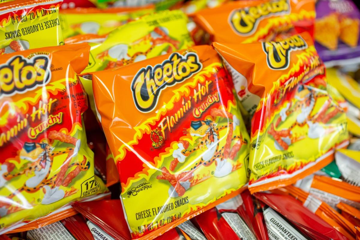 Bags of Flamin Hot Cheetos