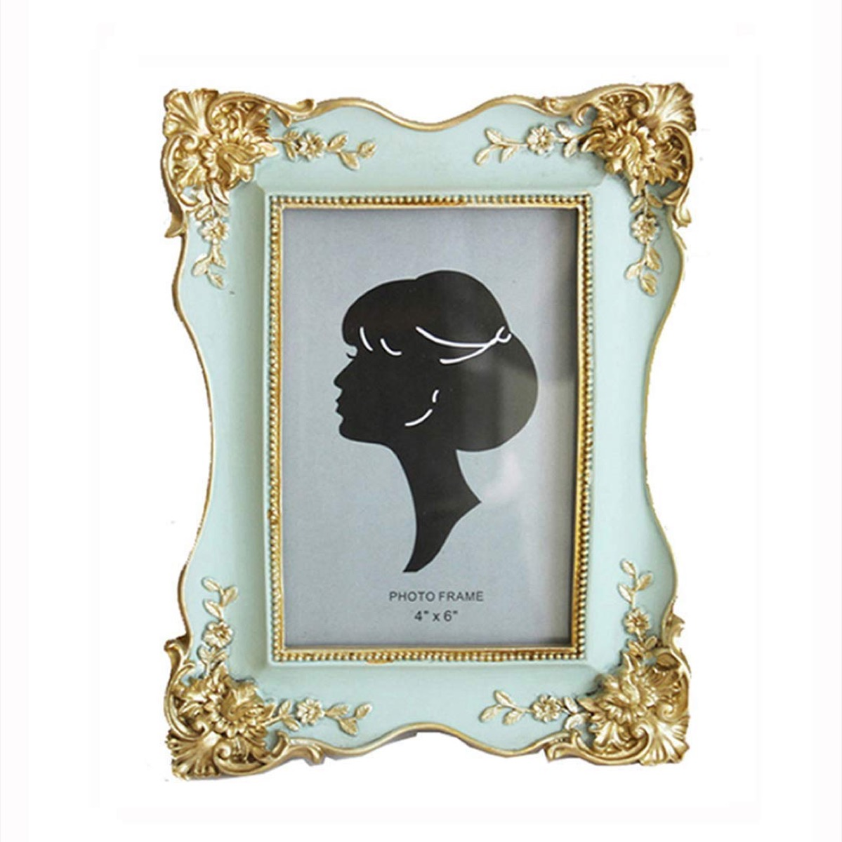 green picture frame with gold edges