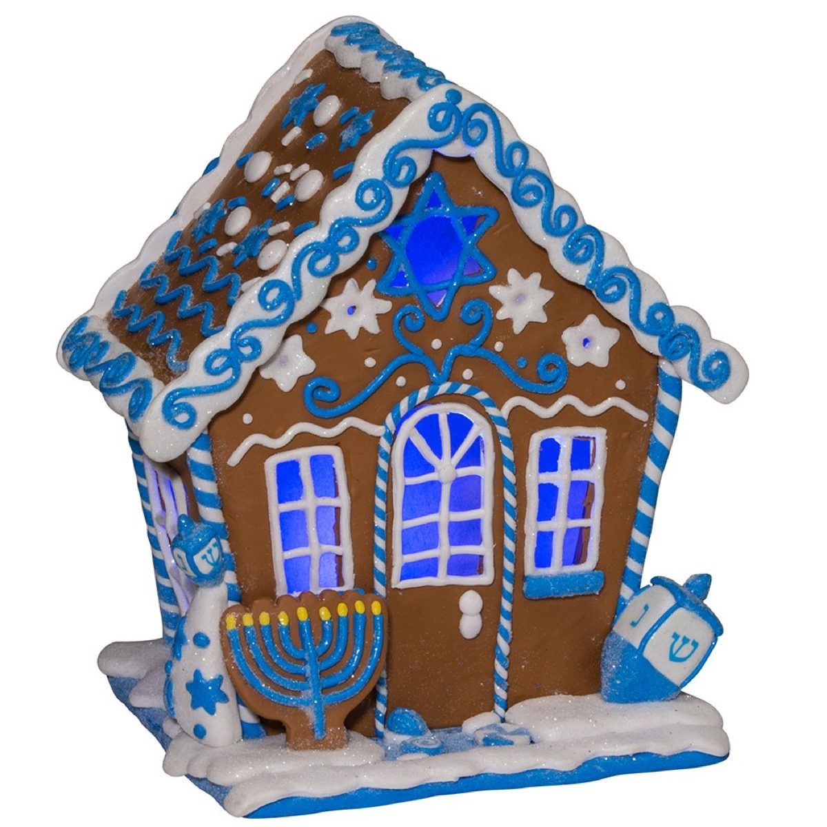 gingerbread house with blue and white icing and menorah and dreidel decorations, hanukkah decorations
