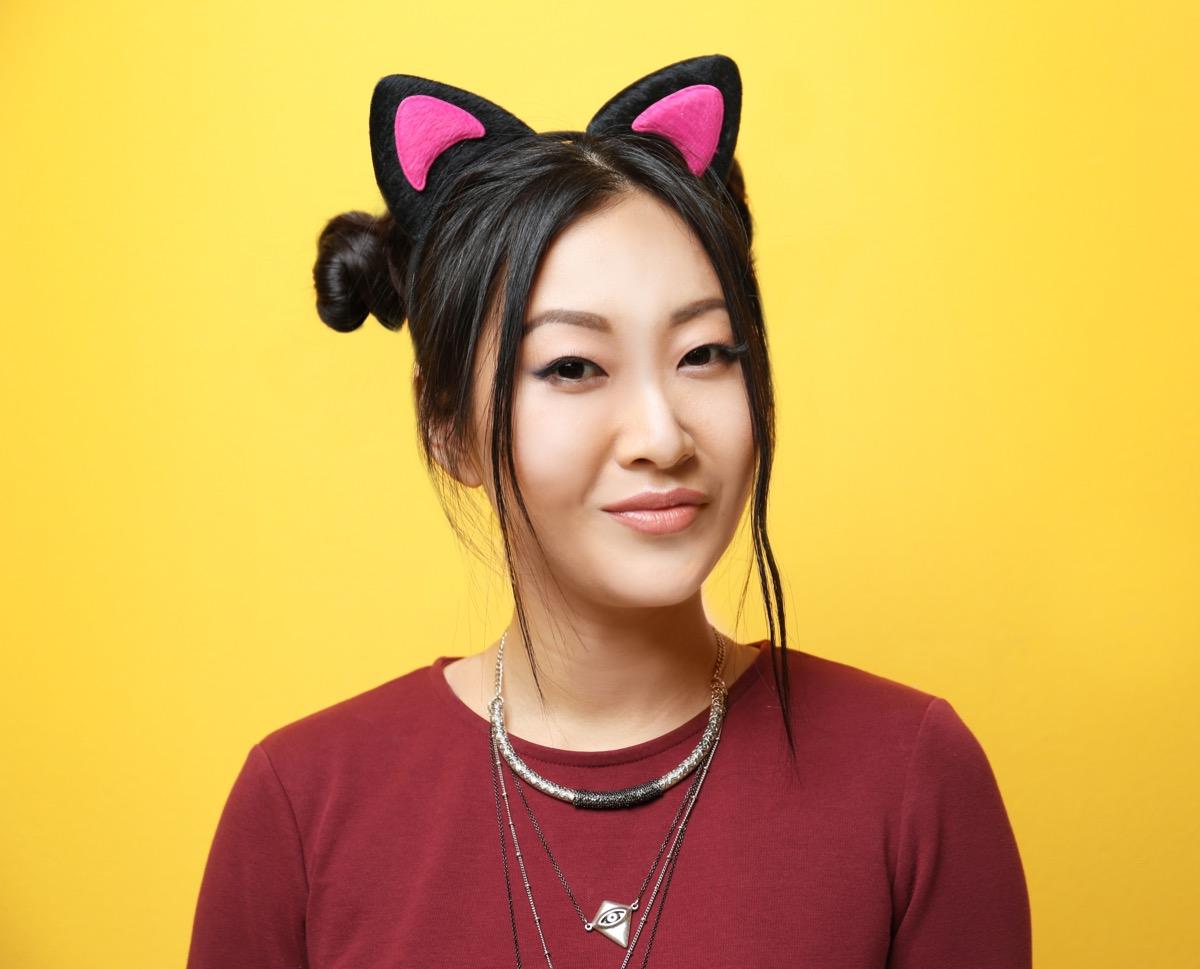 girl wearing cat ears