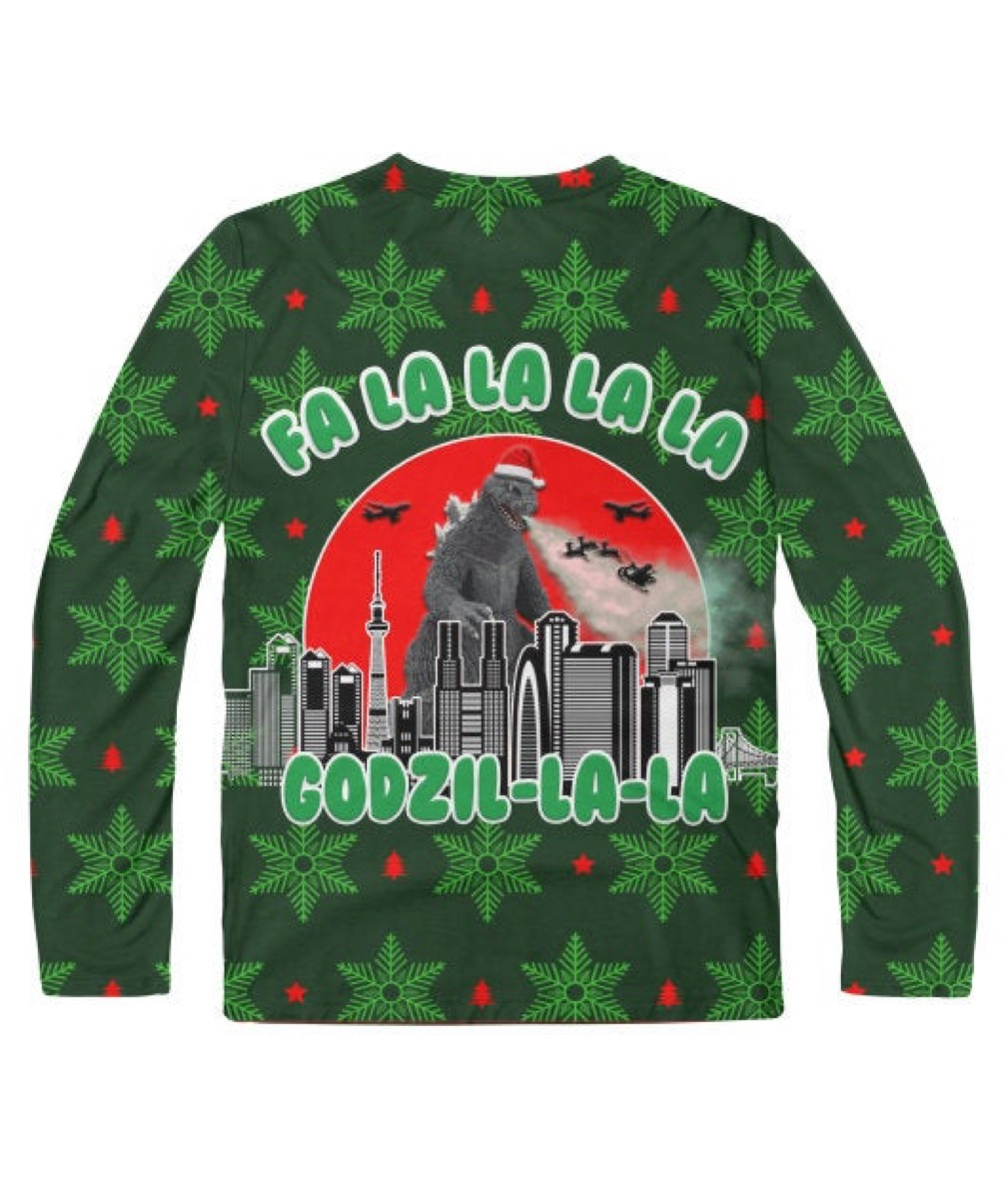 "green sweater with ""fa la la la la godzil-la-la"" on it"