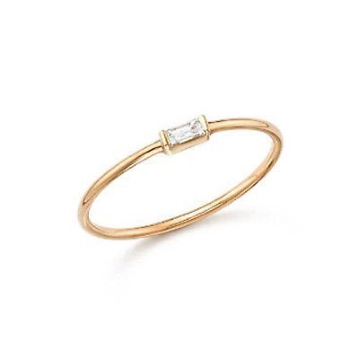 gold band with rectangular diamond, Etsy jewelry