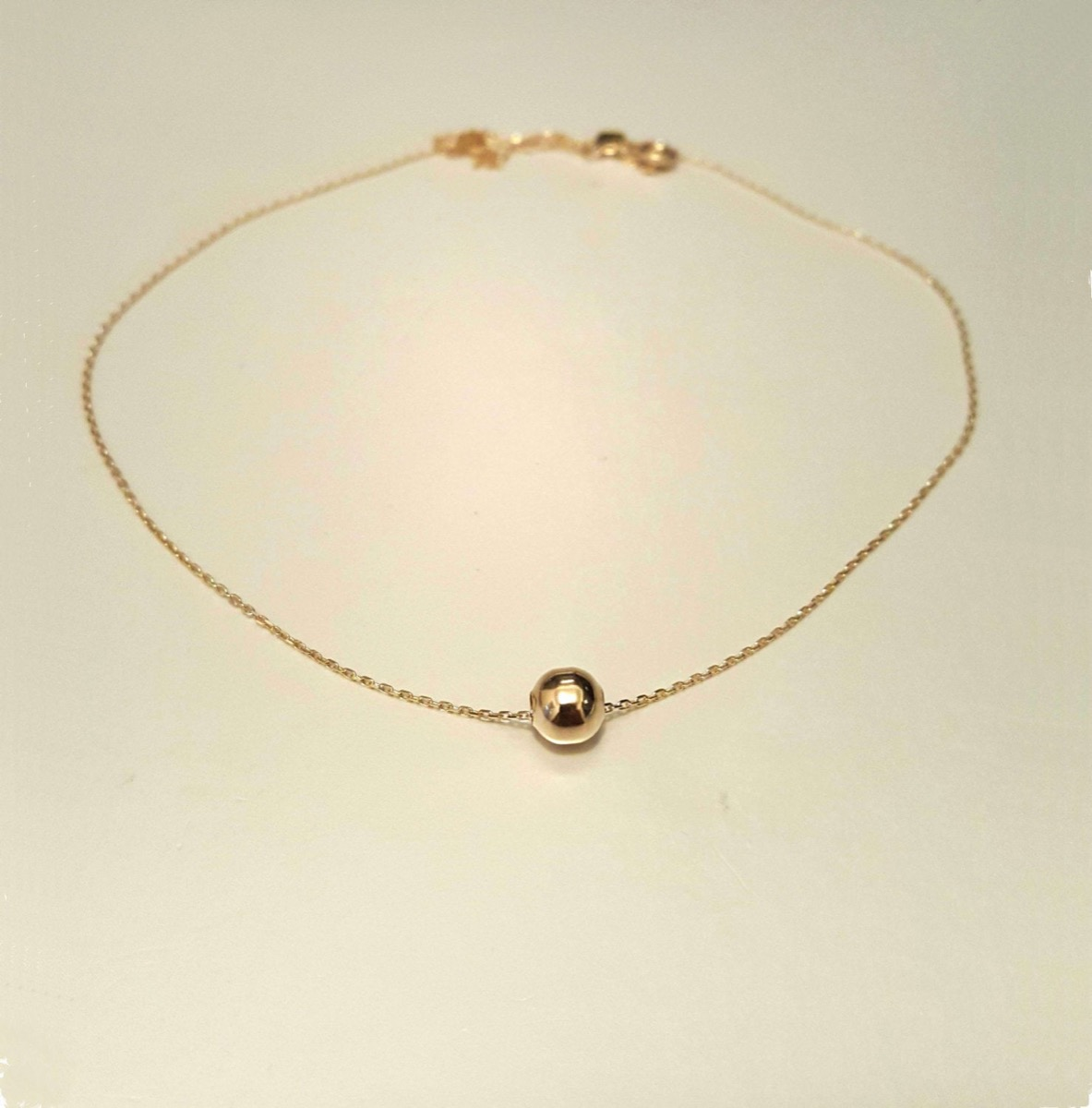 gold ball on gold chain bracelet, Etsy jewelry