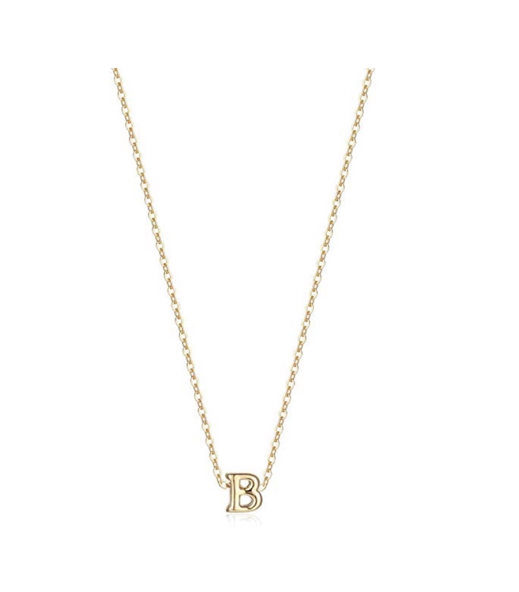 gold b necklace on link chain