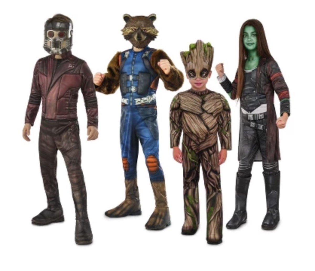 family dressed in guardians of the galaxy costumes, family halloween costumes