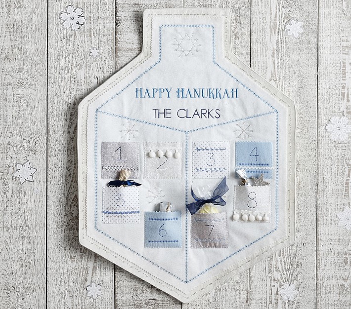 white cotton happy hanukkah wall hanging with gifts in it, hanukkah decorations