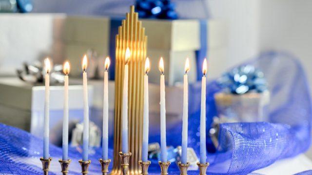 menorah and presents and blue ribbon, hanukkah decorations