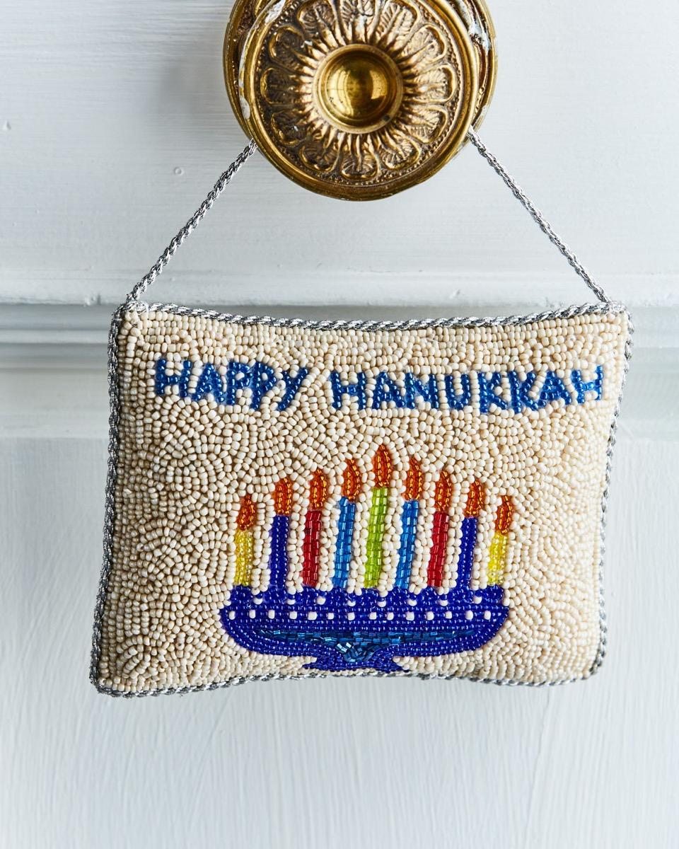 beaded menorah door hanger, hanukkah decorations