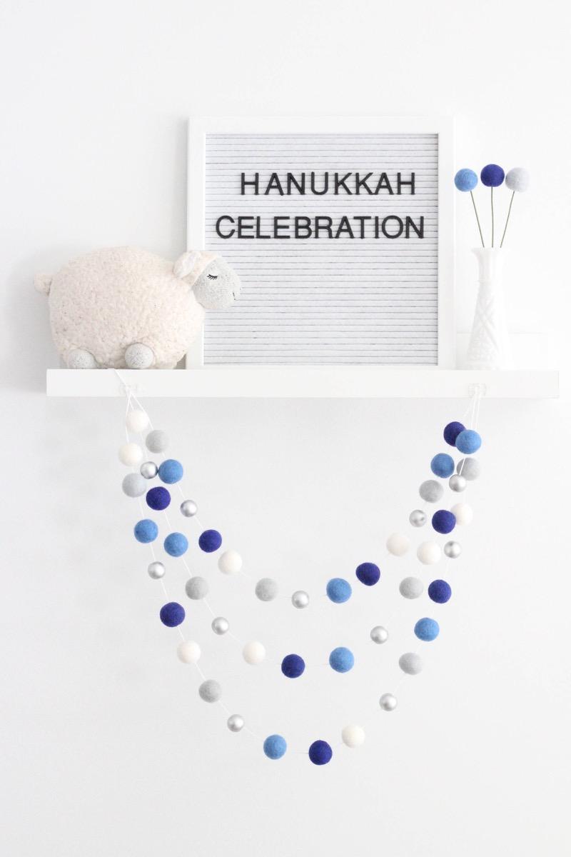blue and white felt garland, hanukkah decorations