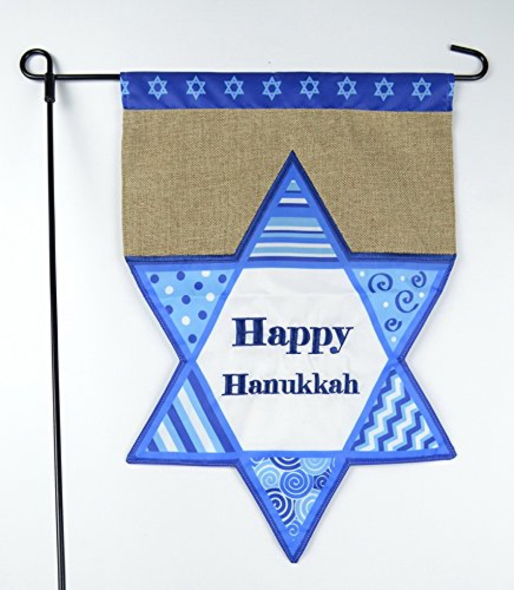star of david garden flag on black spike, hanukkah decorations