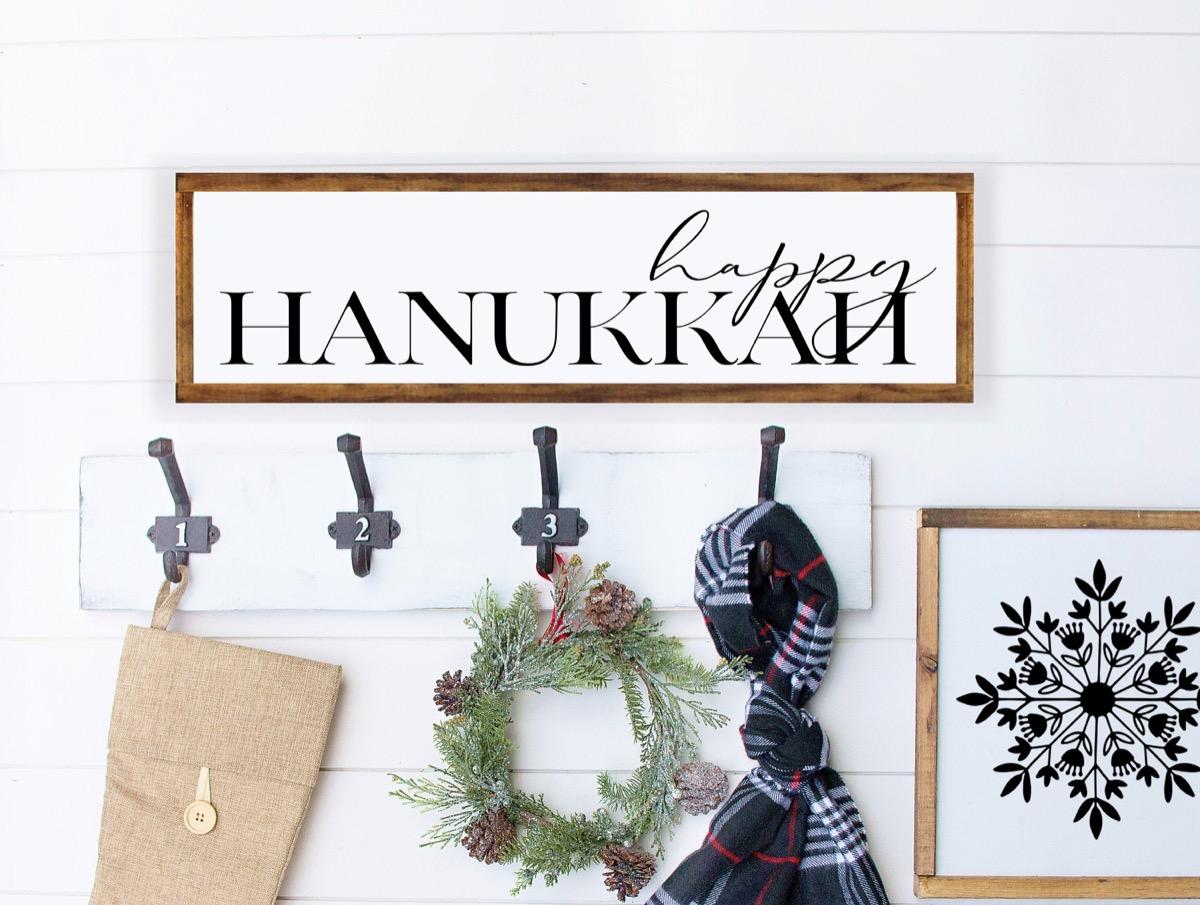 happy hanukkah wall sign in wooden frame, hanukkah decorations