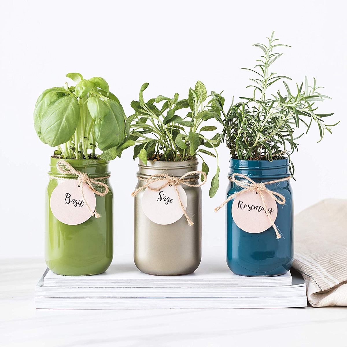 three mason jars with herbs in them
