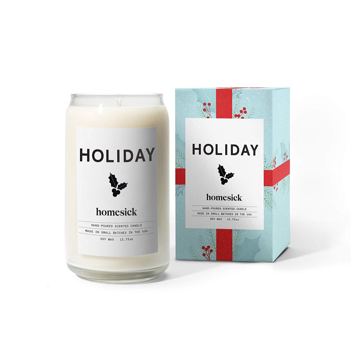 holiday homesick candle in glass jar