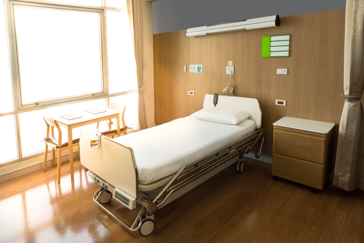 hospital room with bed
