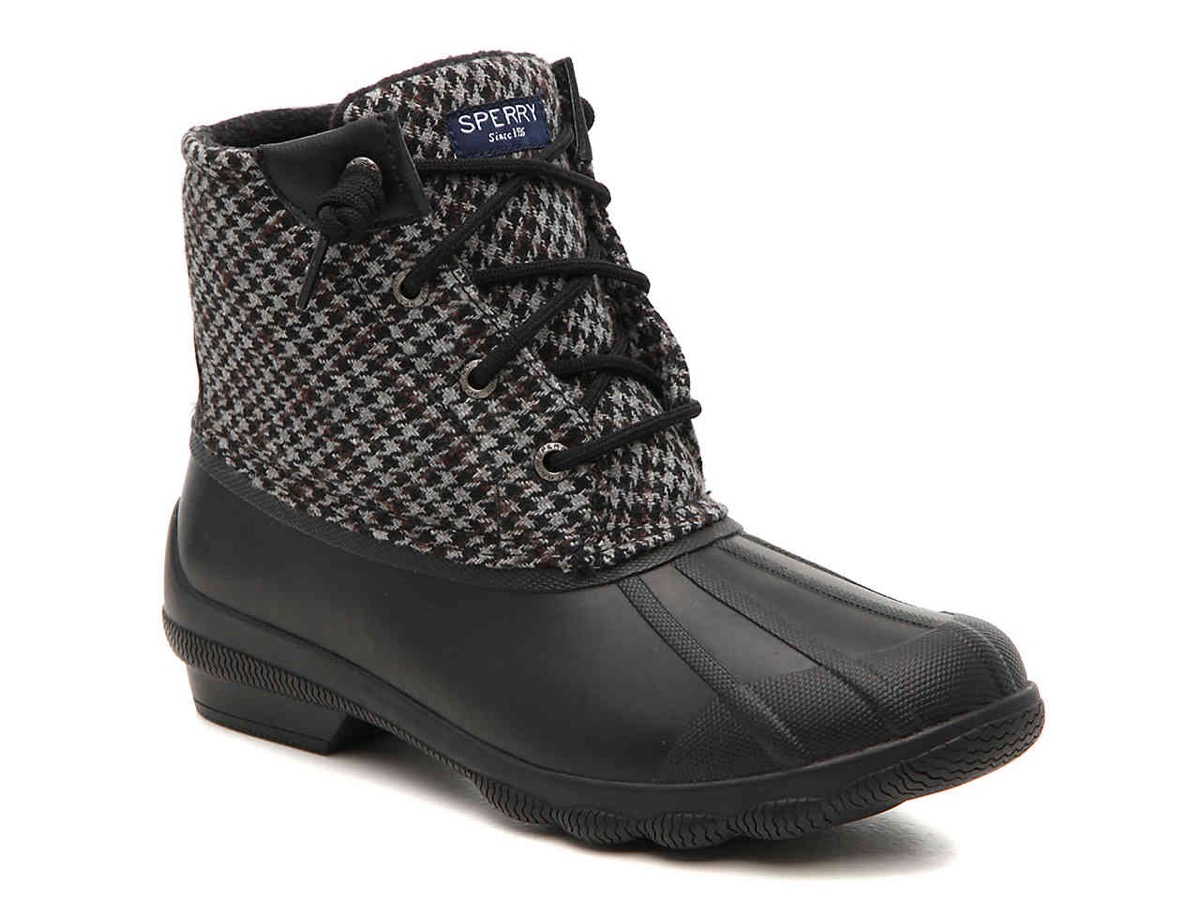 black and gray houndstooth duck boots