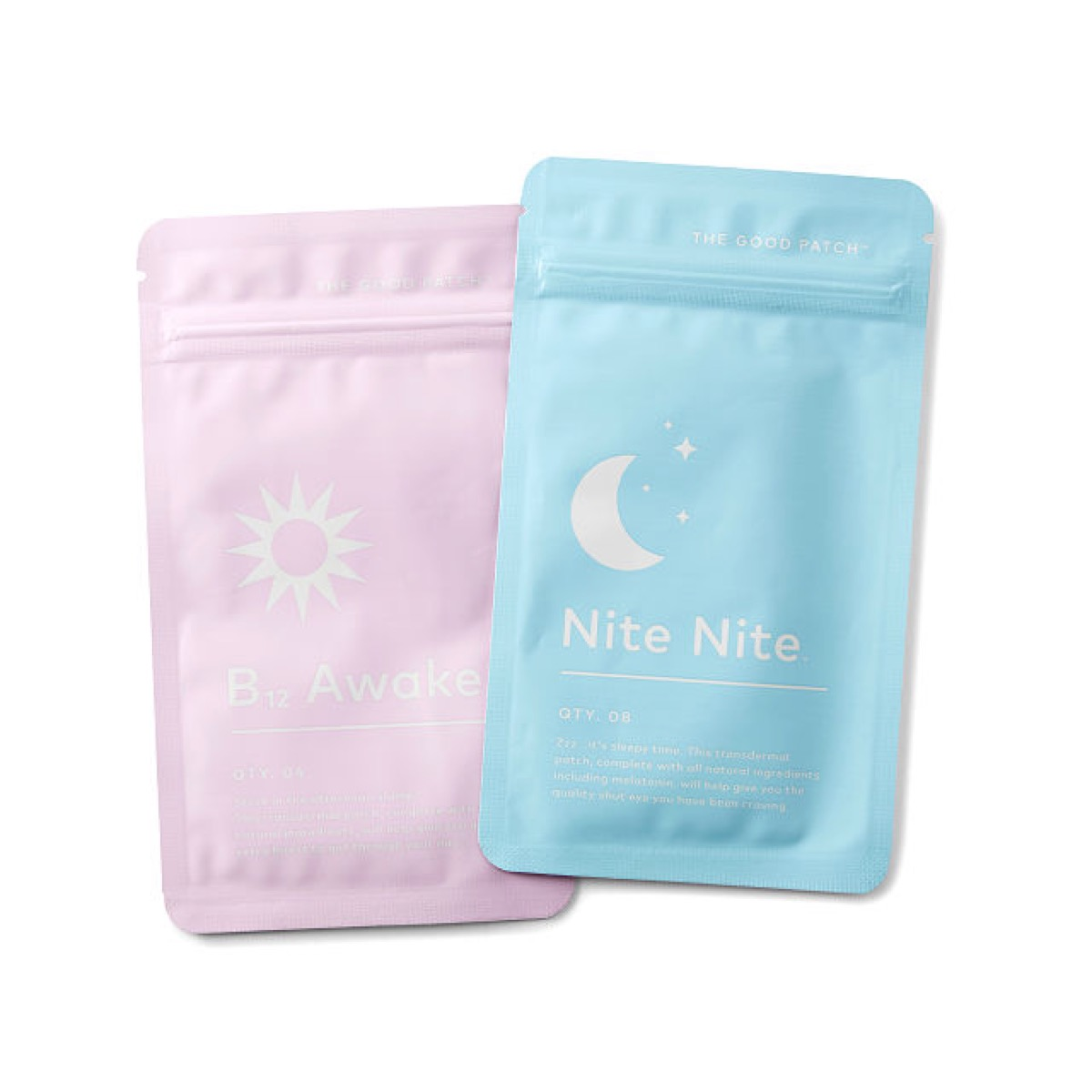 pink and blue packets on white background, better sleep essentials