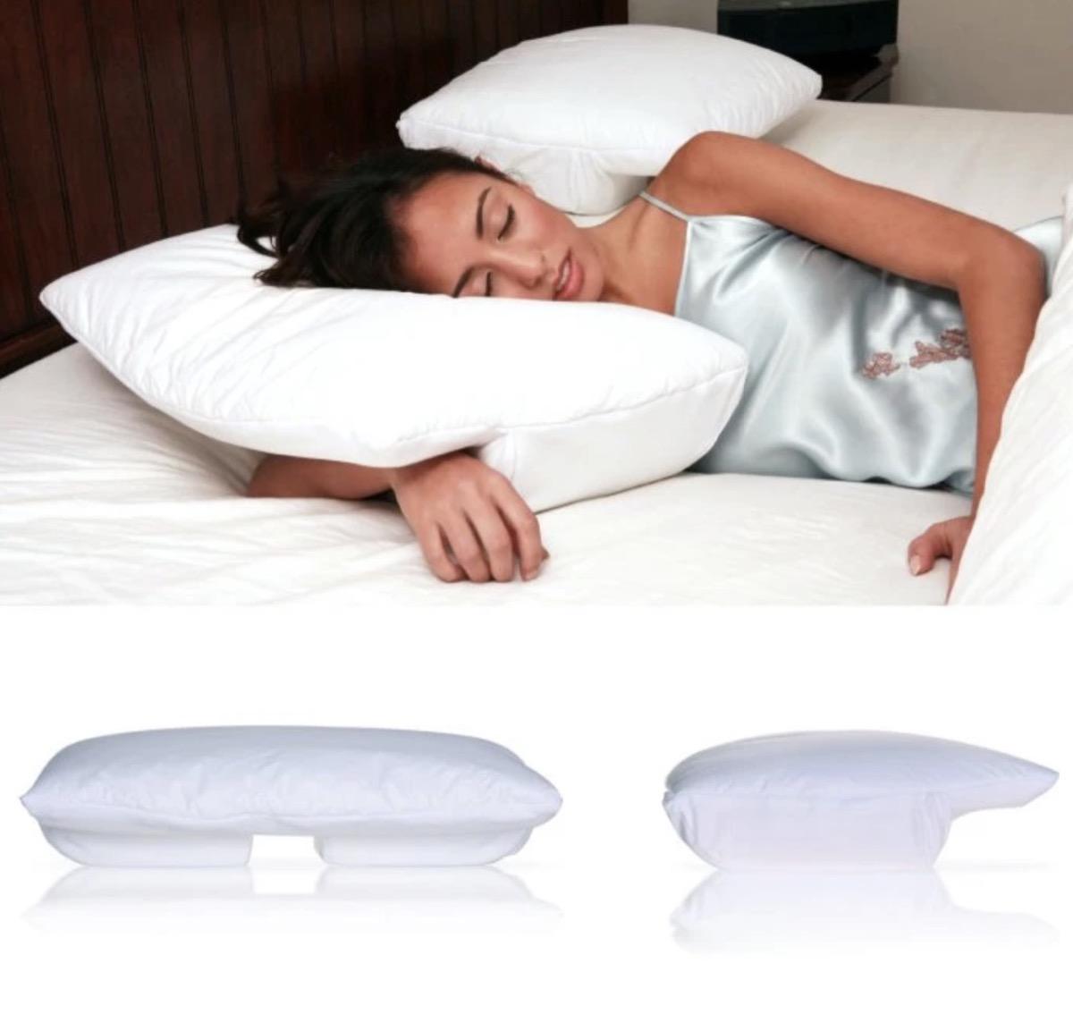 woman sleeping on white pillow, better sleep essentials