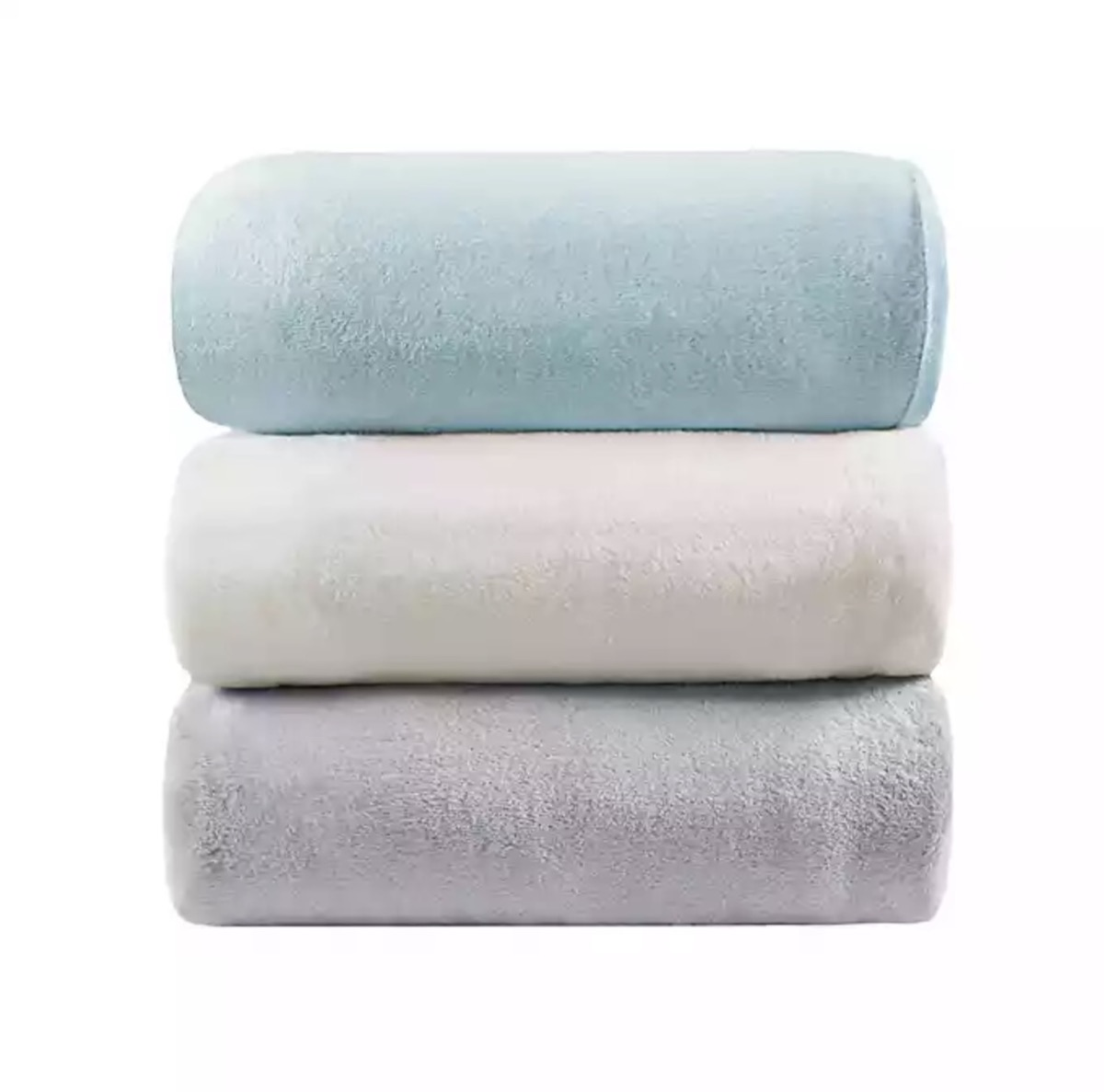 stack of three weighted blankets in green, white, and gray, better sleep essentials