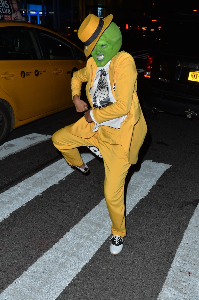 Kat Graham dressed as the mask for halloween