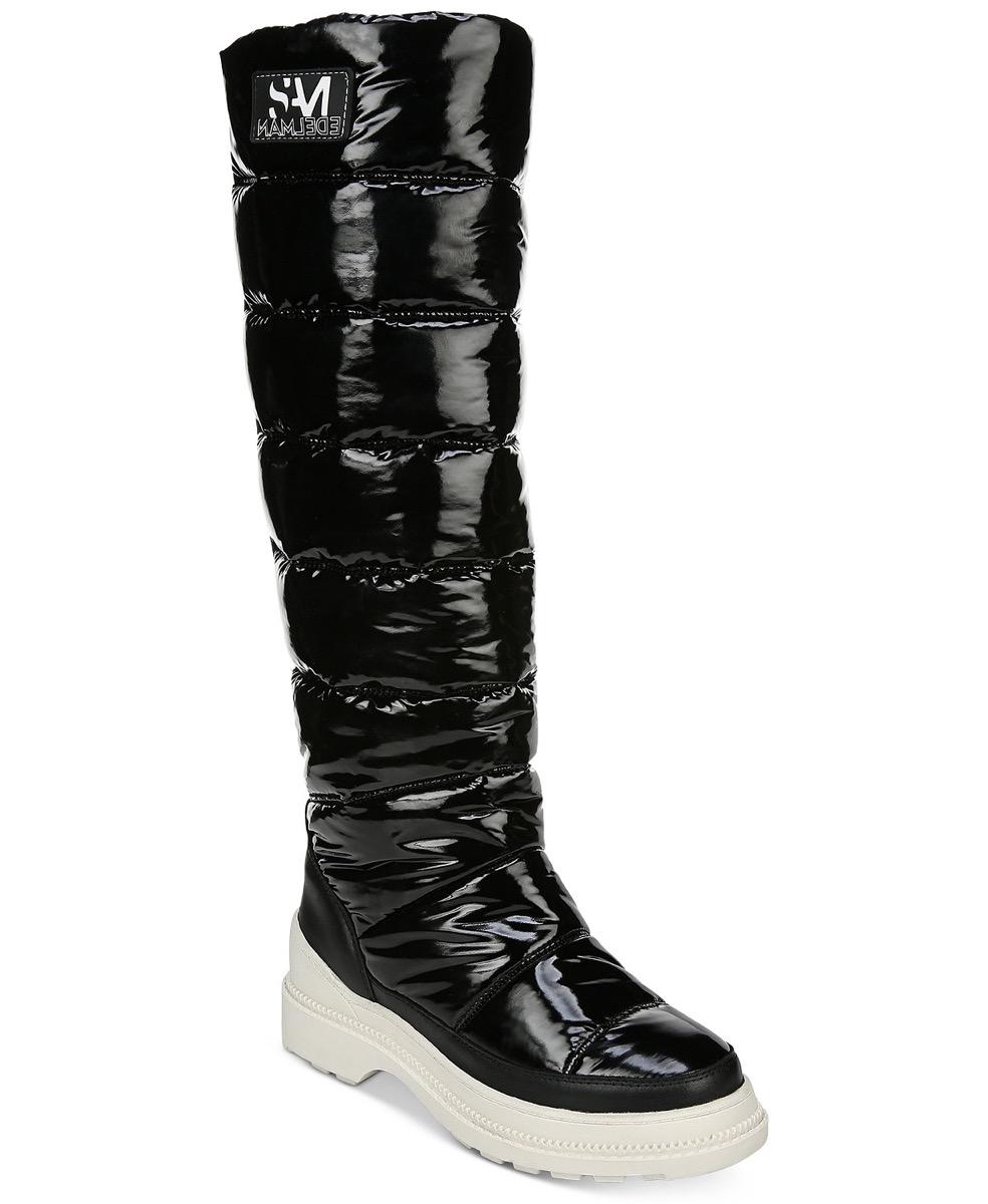knee high black puffer boots