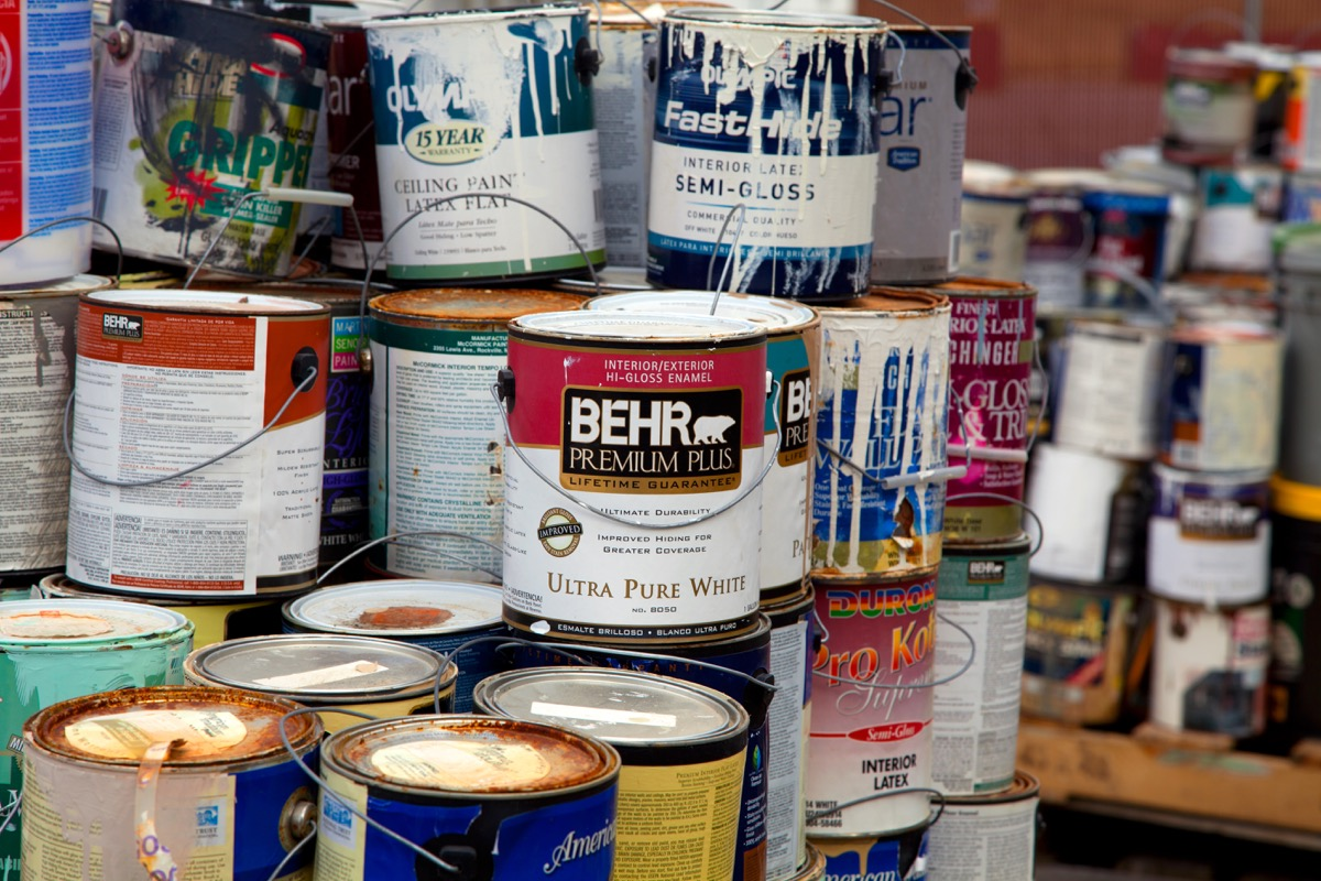 latex paint cans, getting rid of junk