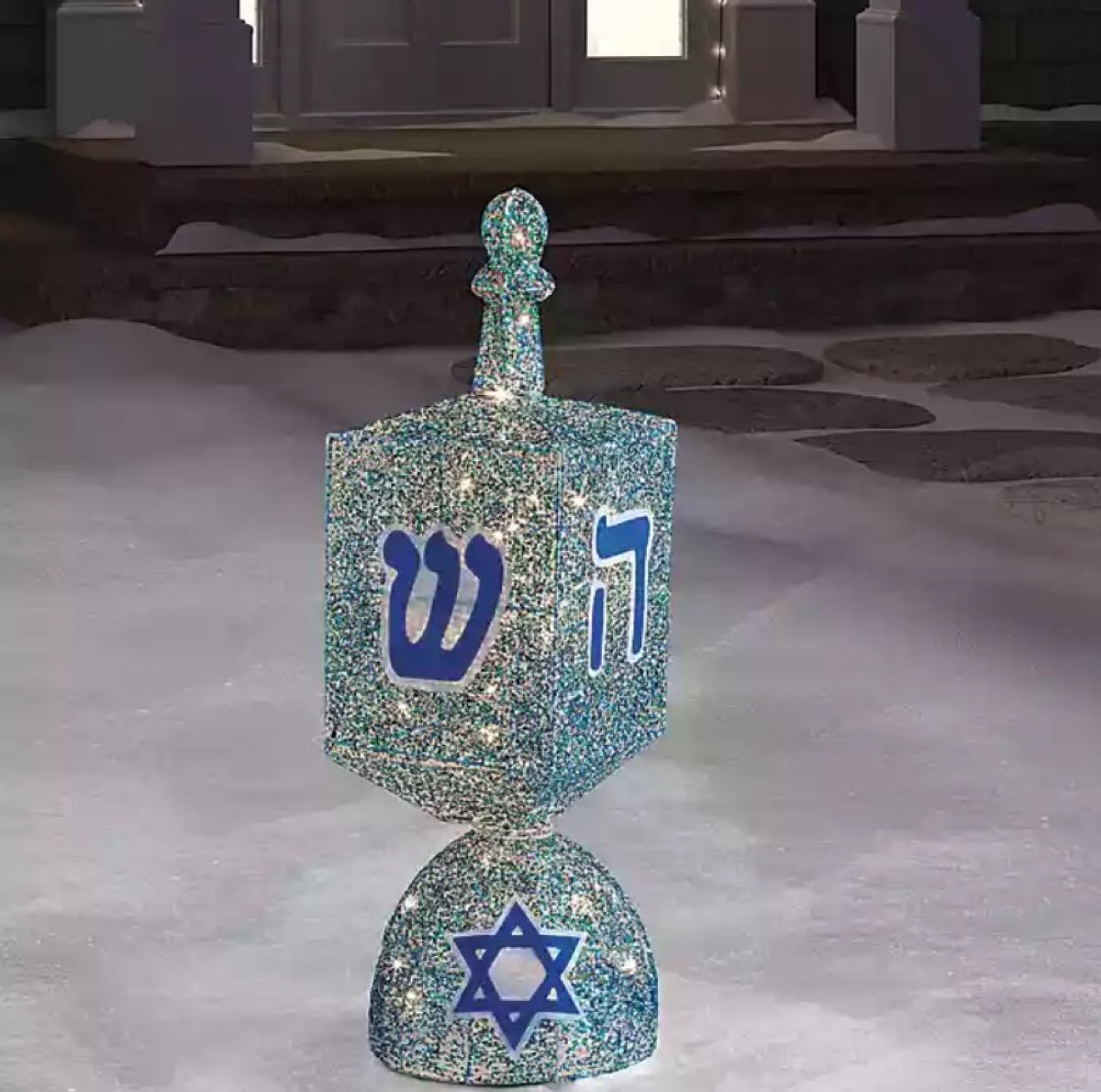 spinning light up dreidel decoration, hanukkah decorations