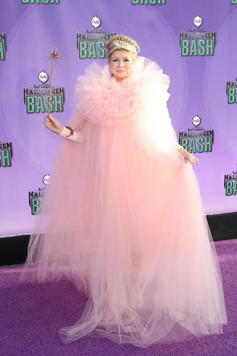 Martha Stewart dressed as Glinda the good witch for Halloween