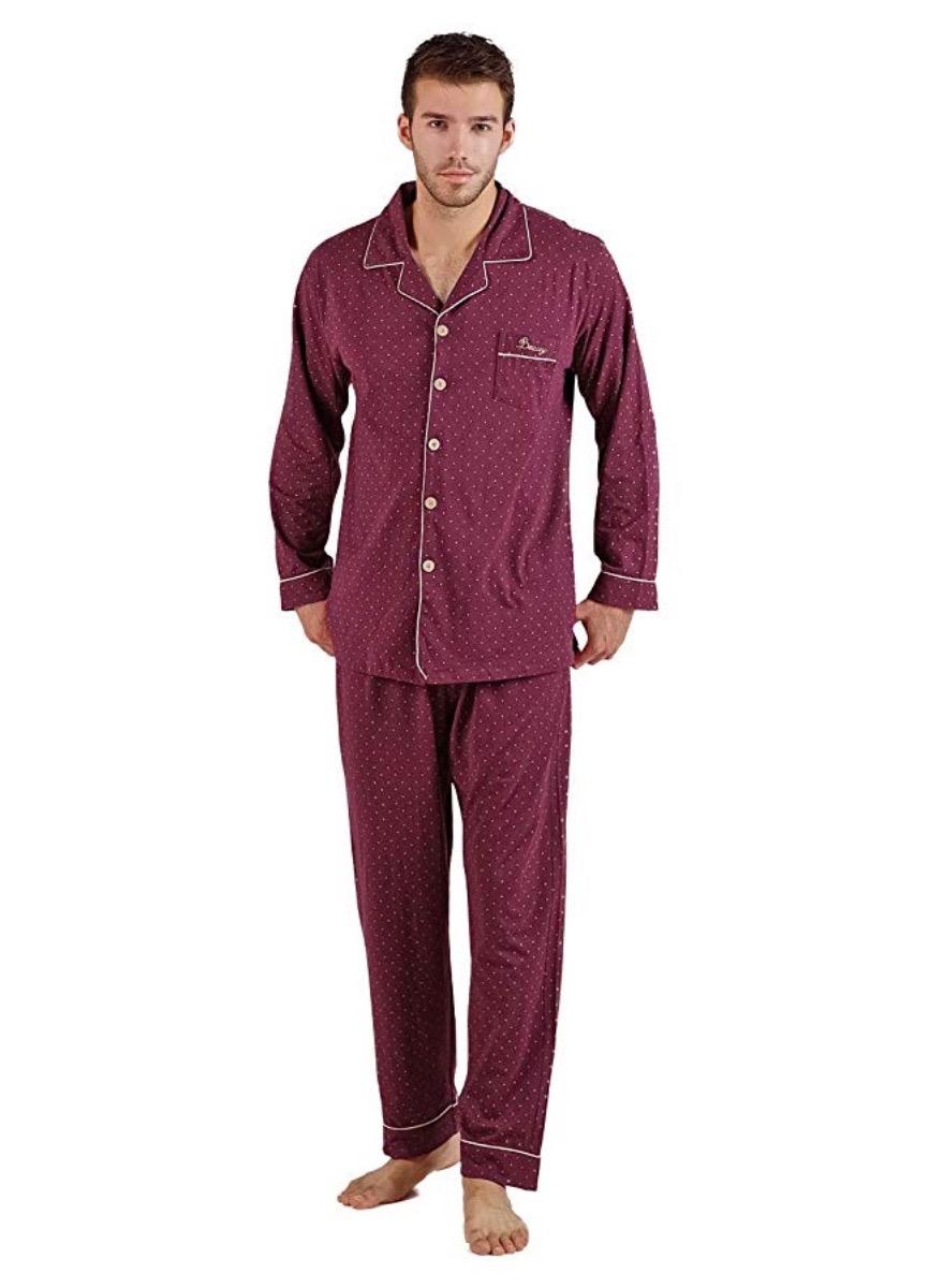 man in purple pajamas with lapel