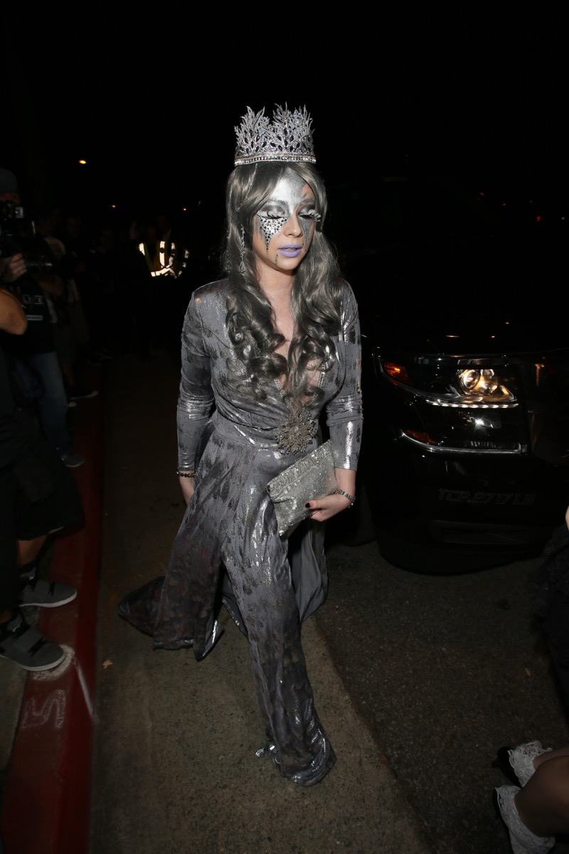 Michelle Trachtenberg dressed as an ice queen for Halloween