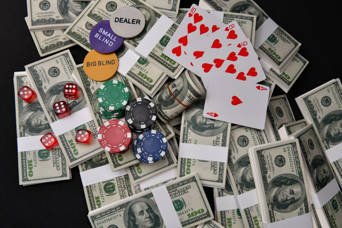 money chips and cards on table